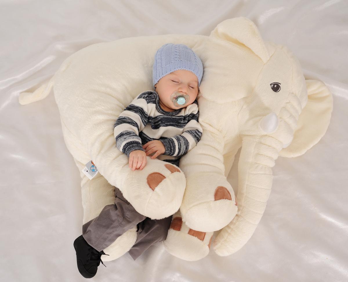 Almofada Travesseiro Elefante Pelúcia Bebê Dormir Palha 80cm ...