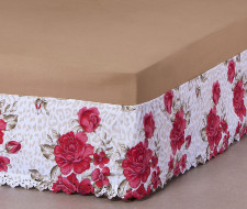 Saia Box Queen Size Estampada Bordado Ultrassônico - Floral