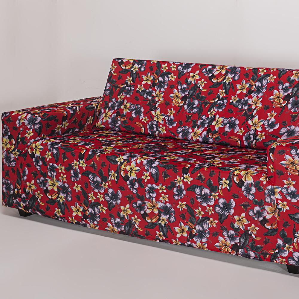 Capa de Sofá 3 Lugares Lisa Floral Vermelha