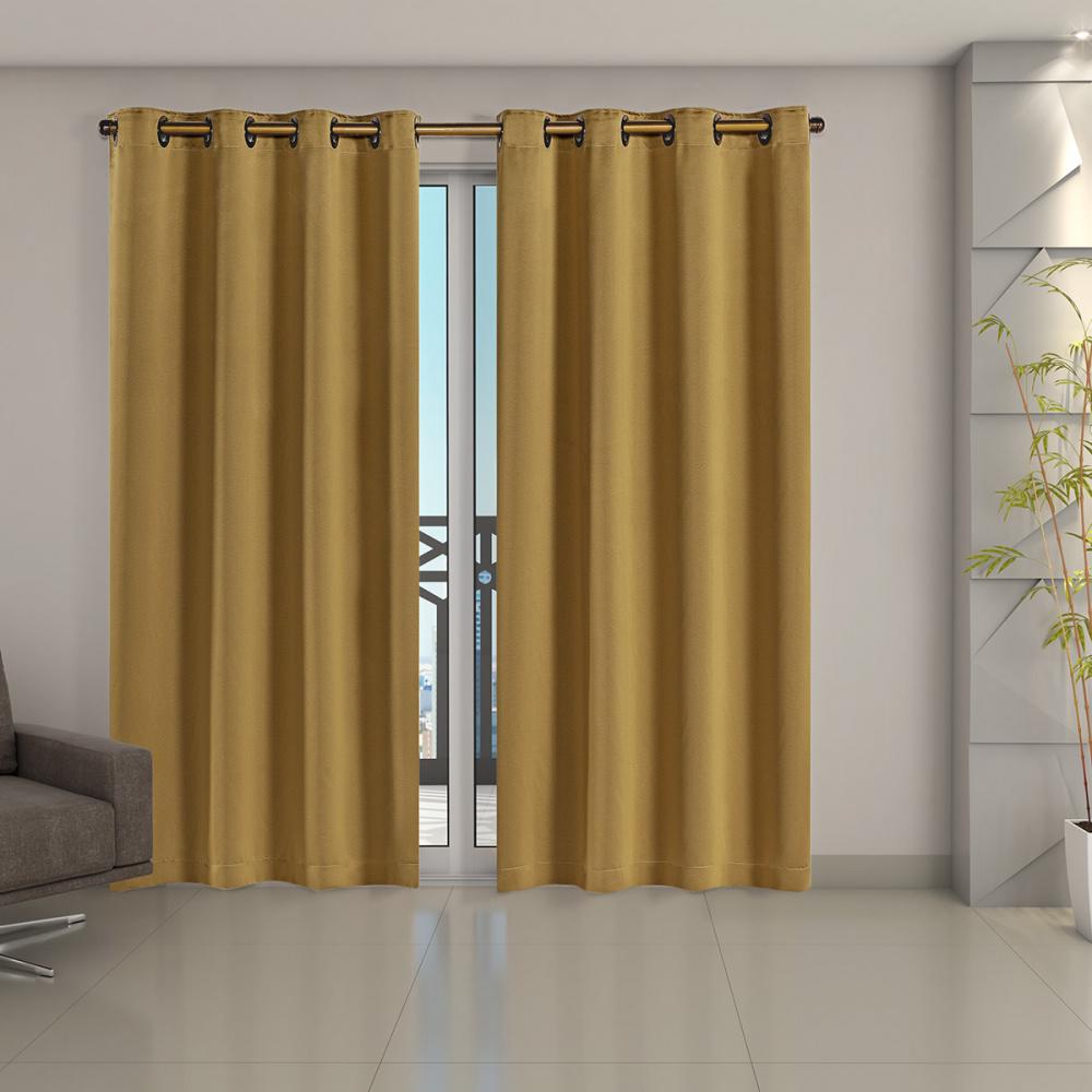 Cortina Blackout Corta Luz 70 % Tecido 2,80 x 2,30 - Dourado