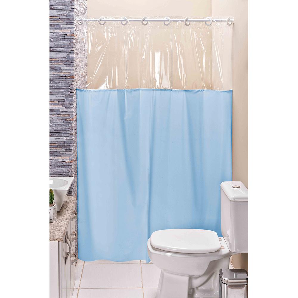 Cortina para Box de Banheiro com Visor - Azul