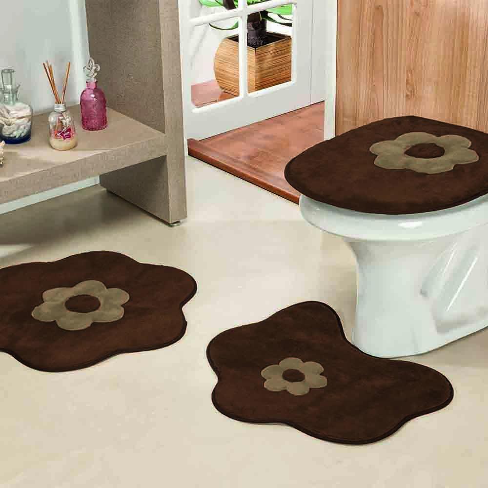 Jogo de Banheiro Formato Margarida 3 Peças Café