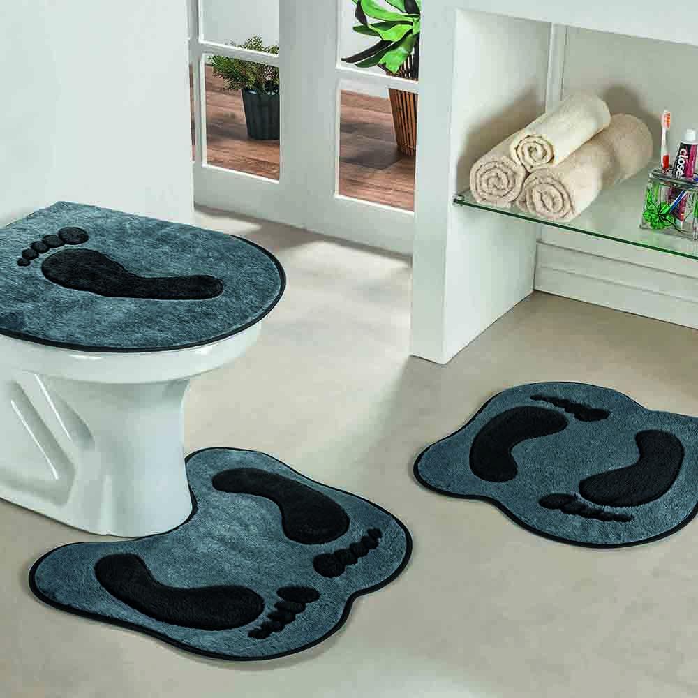 Jogo de Banheiro Formato Pegada 3 Peças Cinza