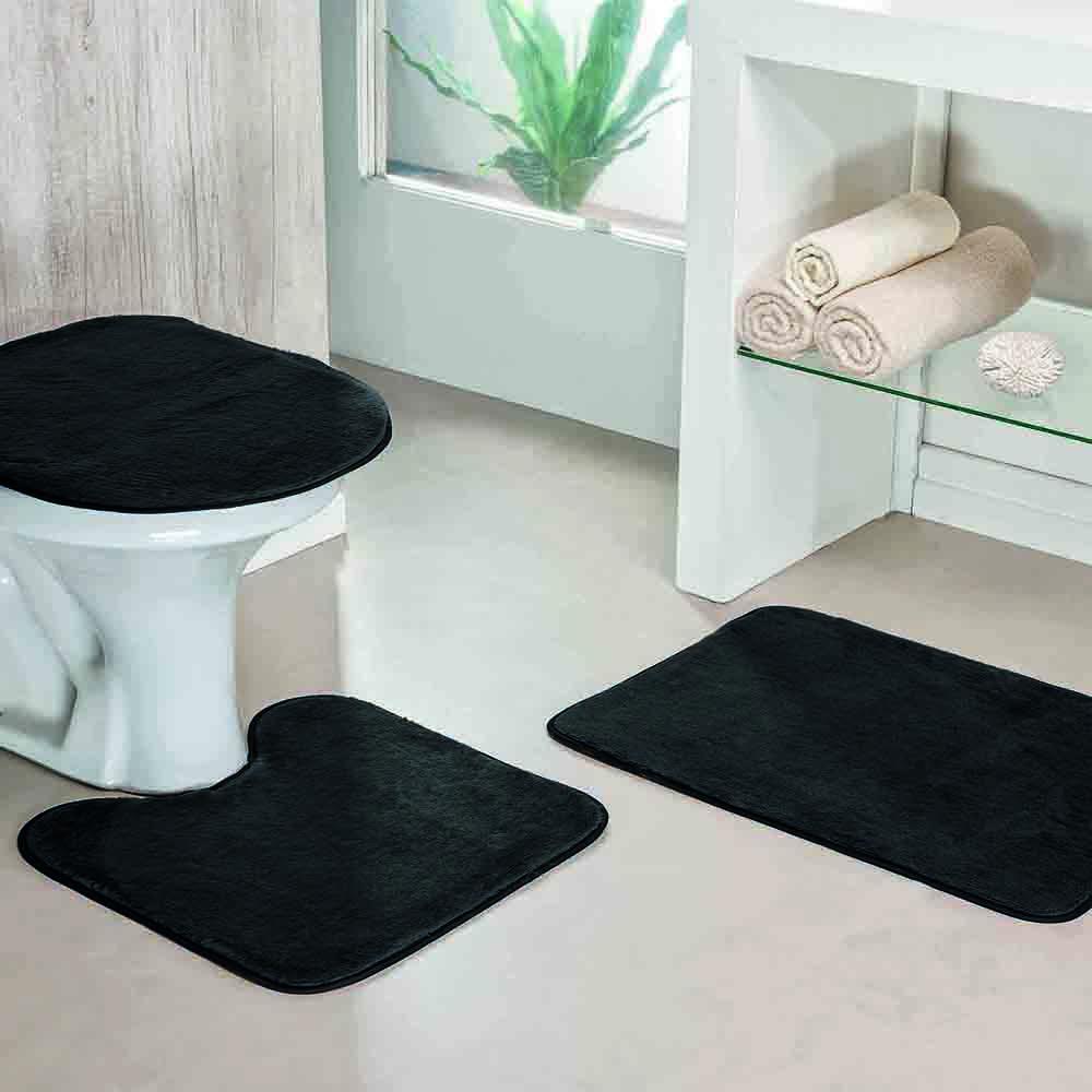 Jogo de Banheiro Liso 3 Peças Preto