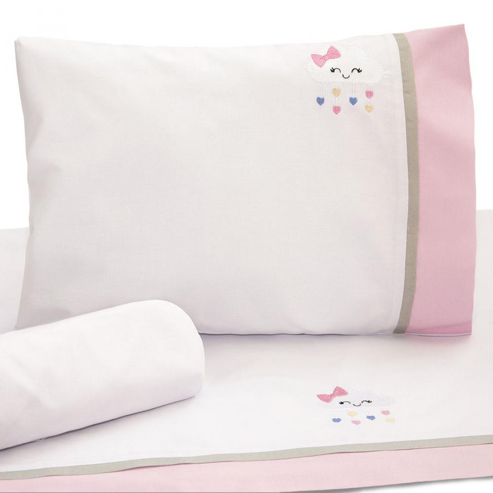 Jogo de lençol Coleção Conforto Nuvenzinha rosa