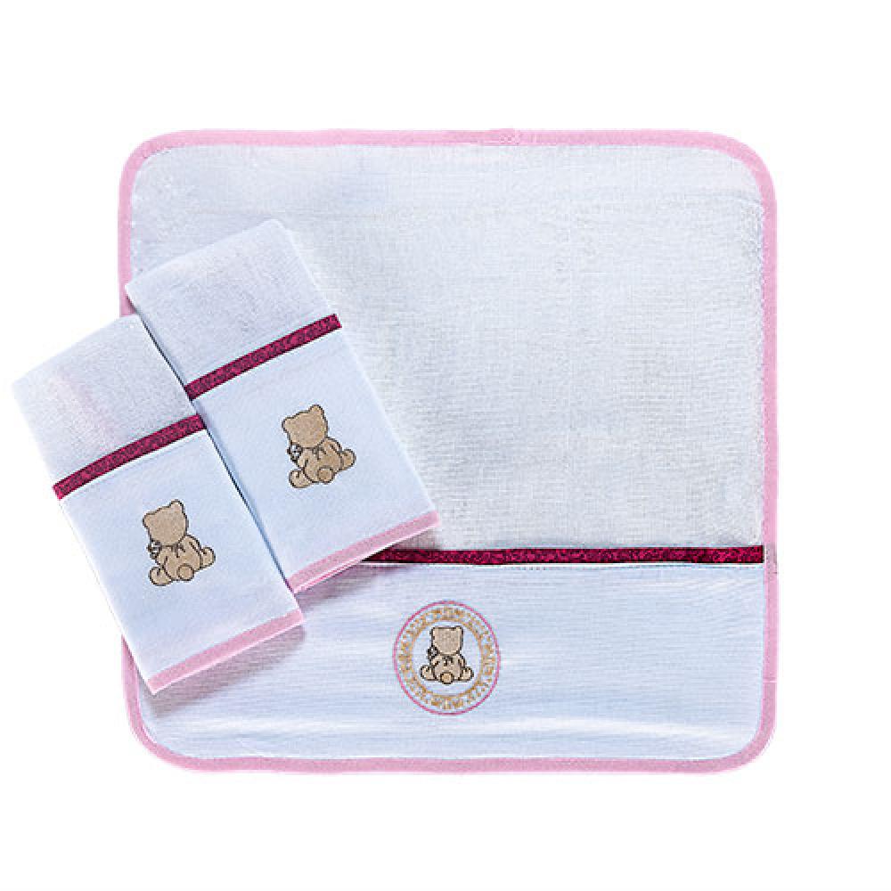 Kit 3 Paninho de boca  Coleção Conforto Ursinho rosa