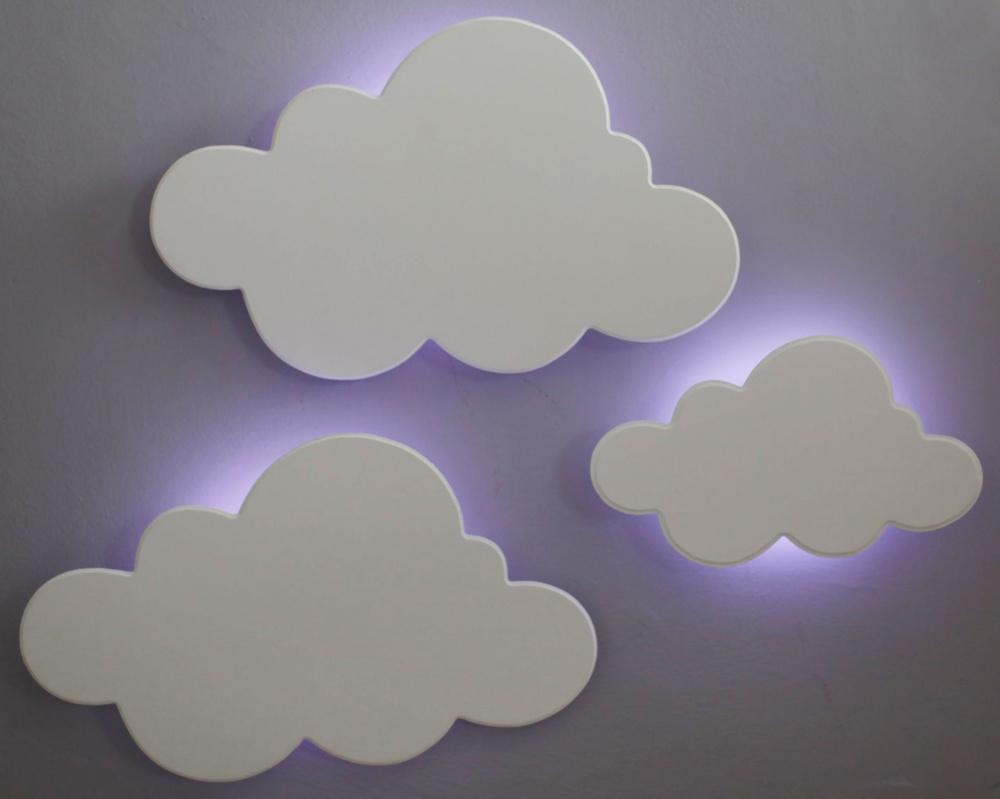 Kit 3 Peças Luminárias Decorativas Nuvens com LED de Luz Fria