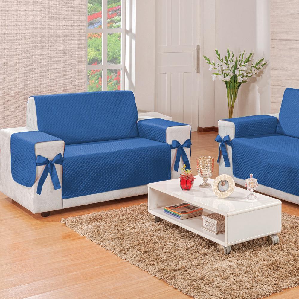 Protetor para Sofá 2 Lugares Elegance Dupla Face Azul/Avelã