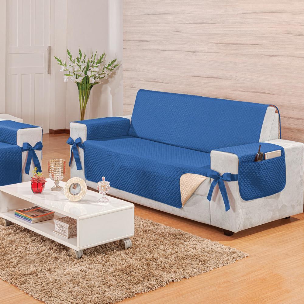 Protetor para Sofá 3 Lugares Elegance Dupla Face Azul/Avelã