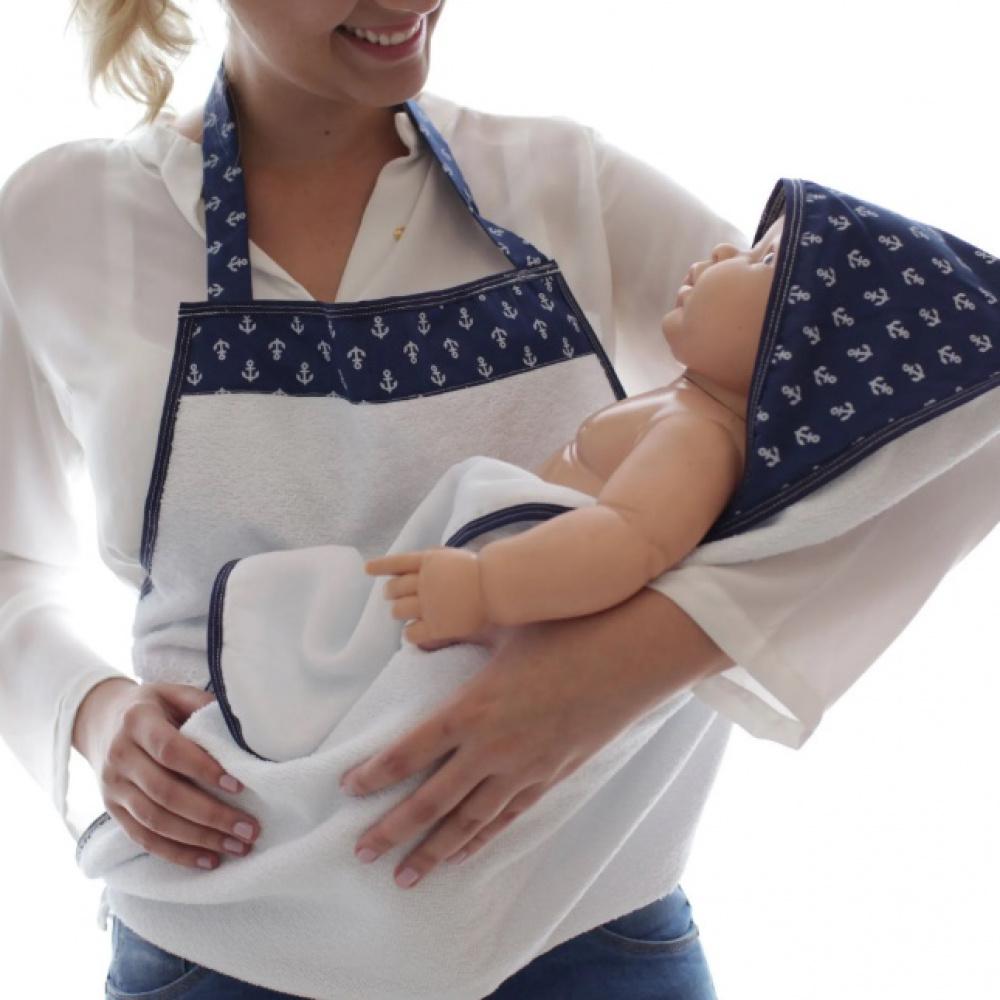 Toalha de Banho Avental Bebê Forrada Fralda com Capuz Âncoras