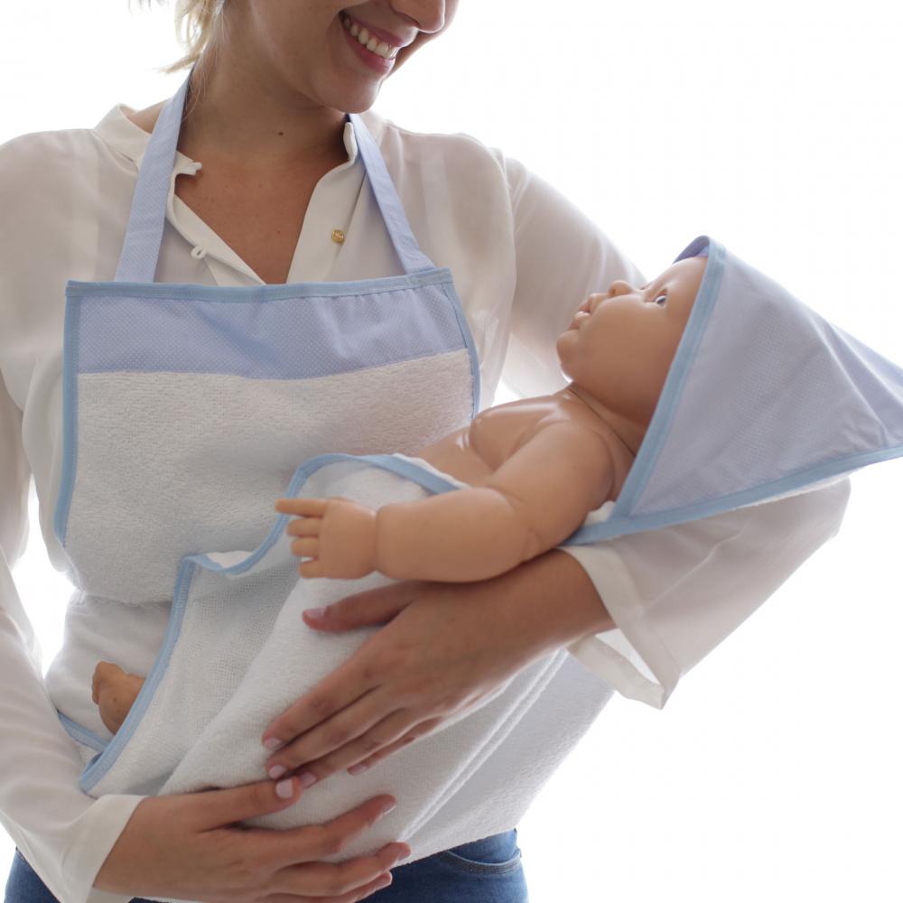 Toalha de Banho Avental Bebê Forrada Fralda com Capuz Poá Azul