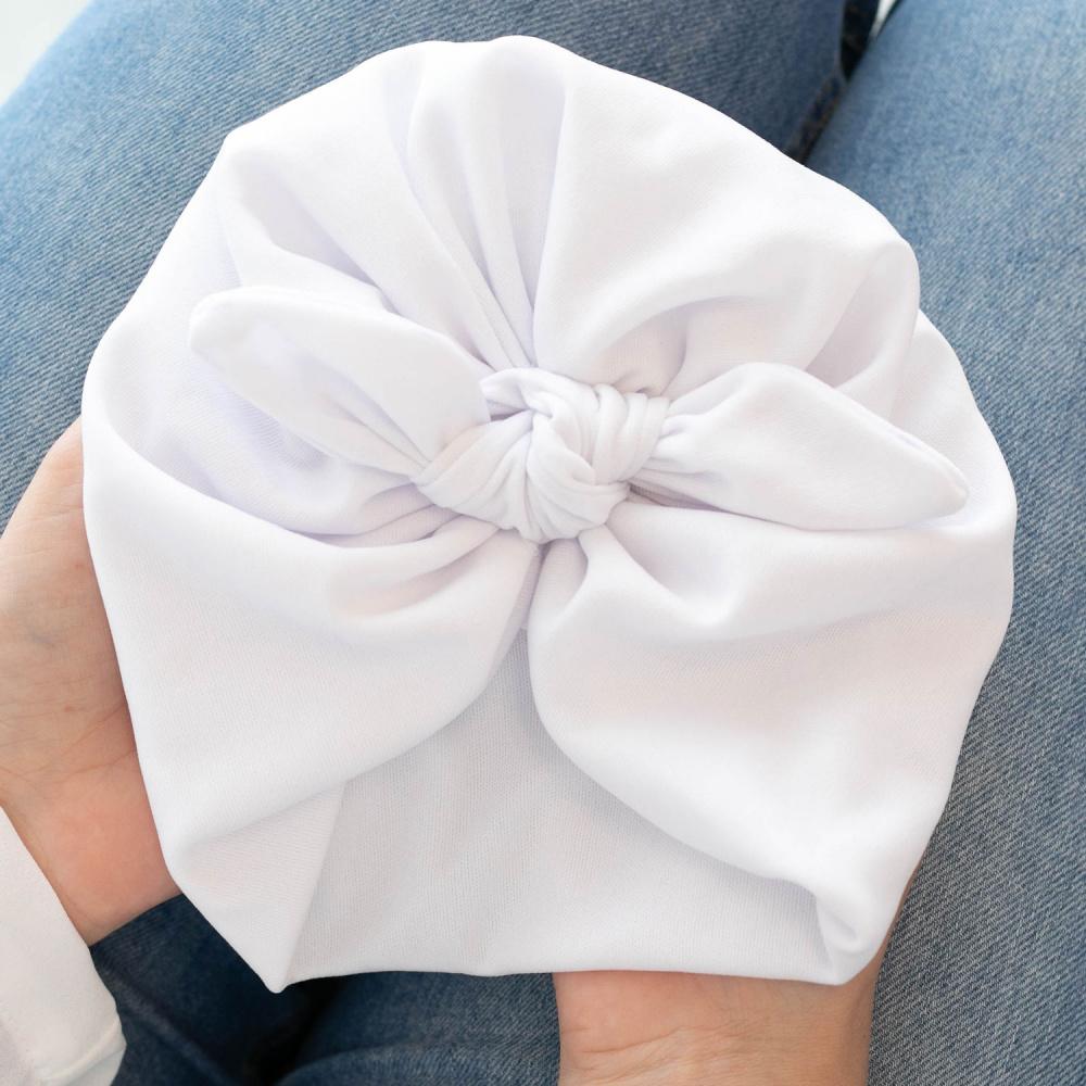Touca Turbante Bebê com Laço Malha Gel Branco Tamanho P