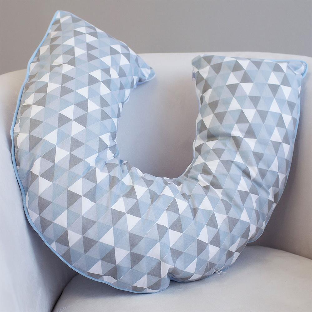 Almofada De Amamentação De Bebê 50Cm x 50Cm 100% Algodão - Triângulos Azul