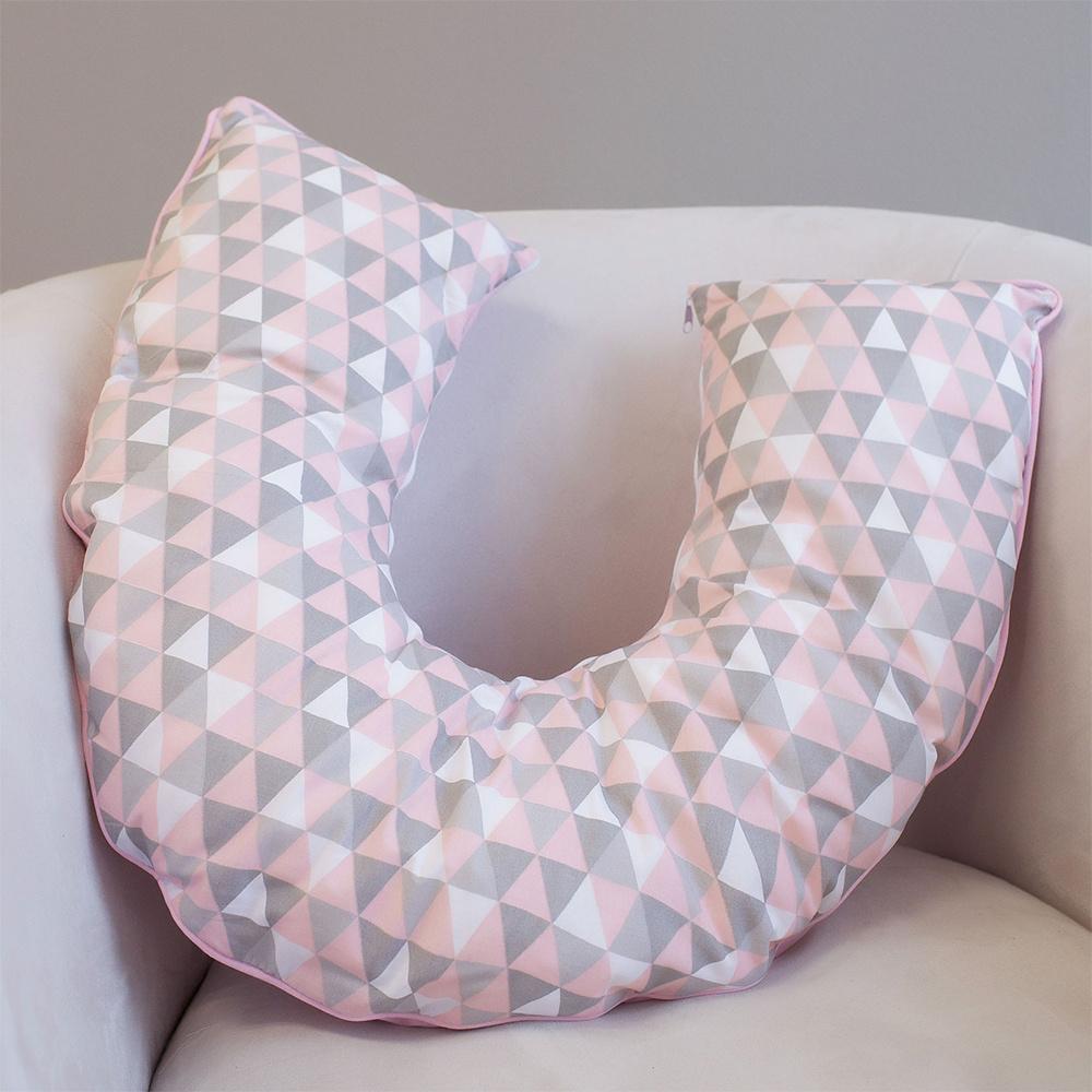 Almofada De Amamentação De Bebê 50Cm x 50Cm 100% Algodão - Triângulos Rosa