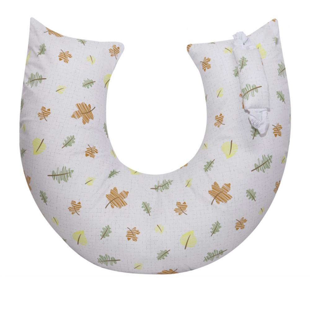 Almofada De Amamentação De Bebe 60cm x 49cm 100% Algodão Folhas Premium - Branco