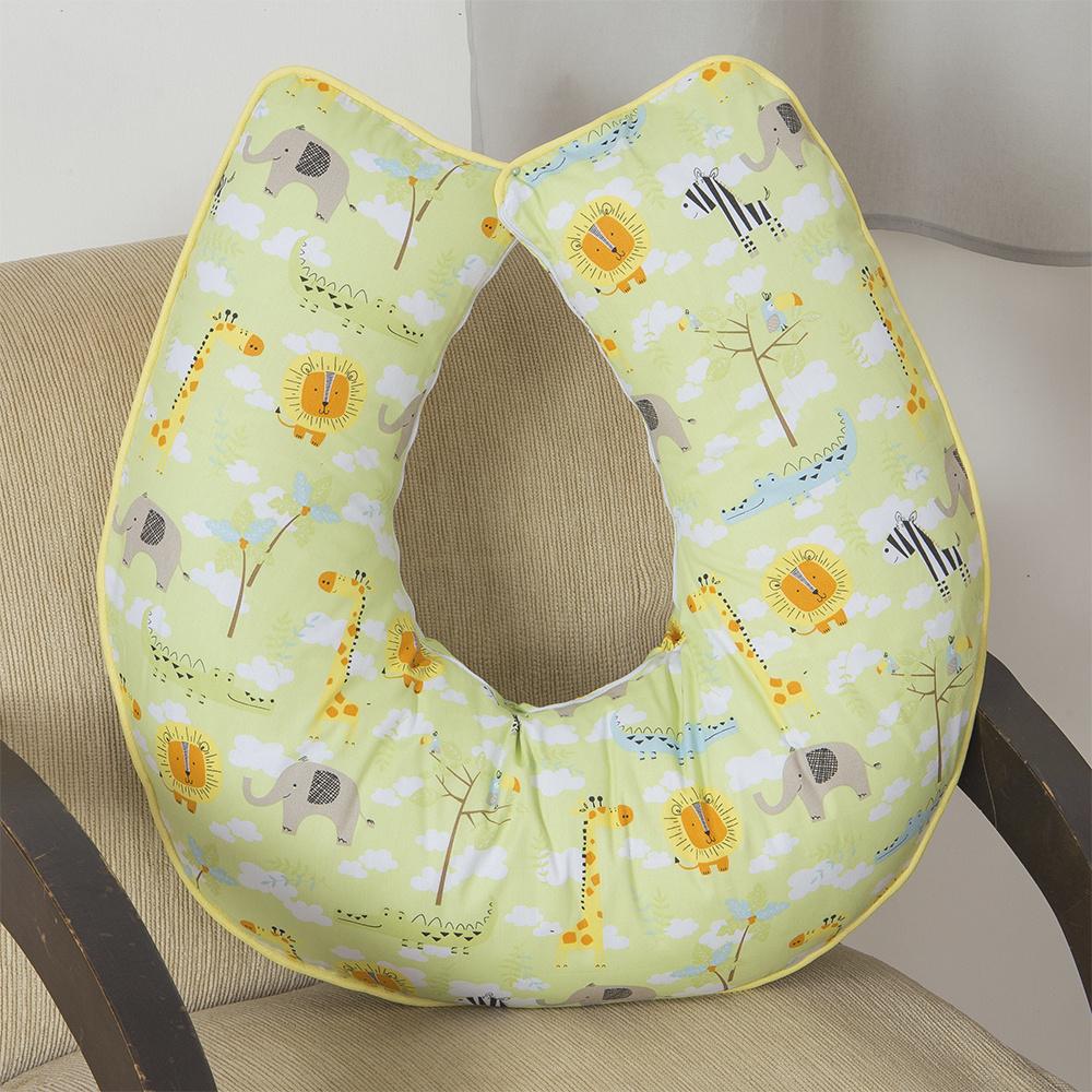 Almofada De Amamentação De Bebe 60cm x 60cm 100% Algodão Menina Savana - Amarelo
