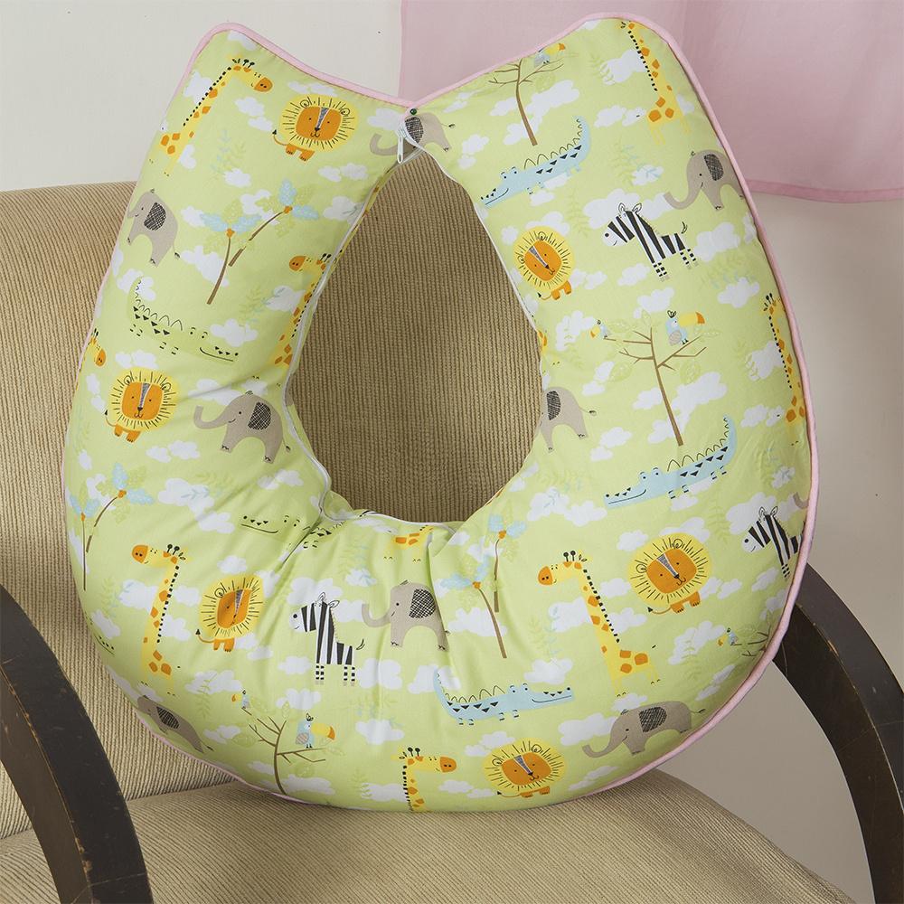 Almofada De Amamentação De Bebe 60cm x 60cm 100% Algodão Menina Savana - Rosa