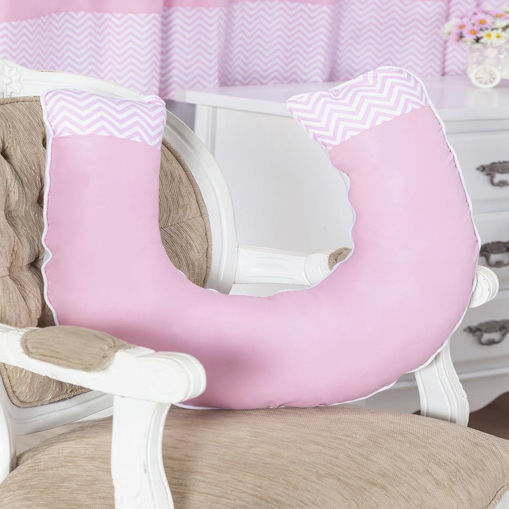 Almofada De Amamentação De Bebe 60cm x 60cm 100% Algodão Menina Sonho Encantado - Rosa