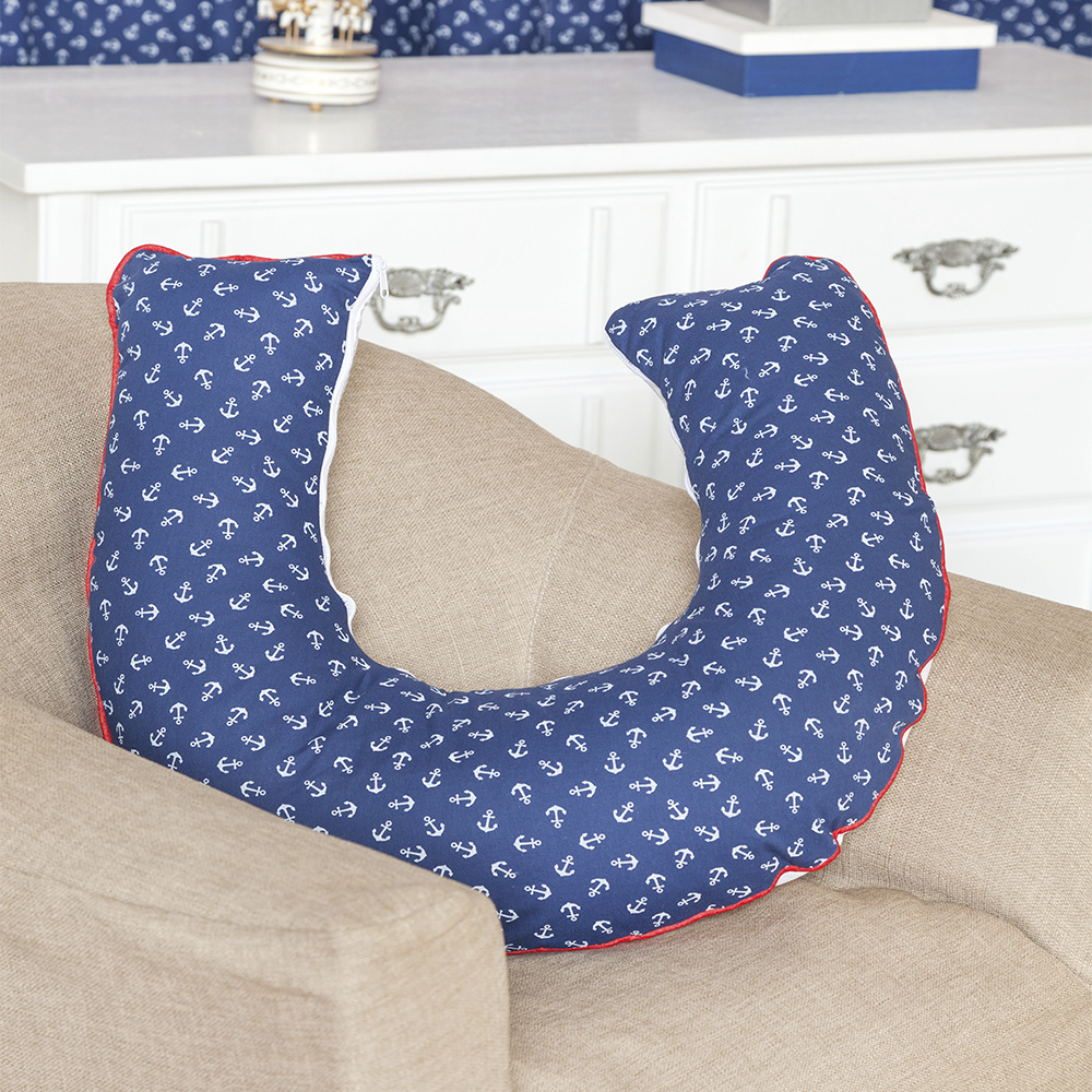 Almofada De Amamentação De Bebe 60cm x 60cm 100% Algodão Menino Marinheiro - Azul Marinho
