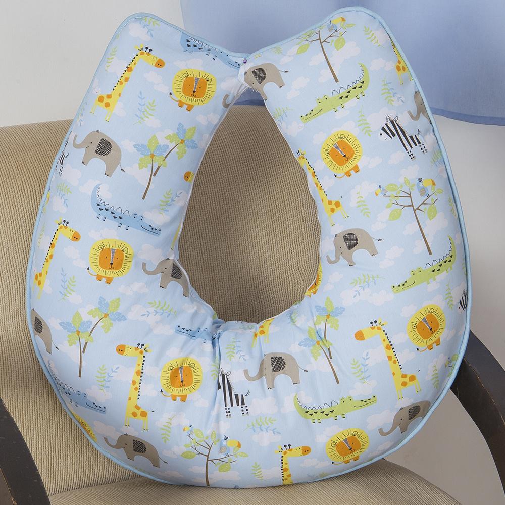 Almofada De Amamentação De Bebe 60cm x 60cm 100% Algodão Menino Savana - Azul Claro