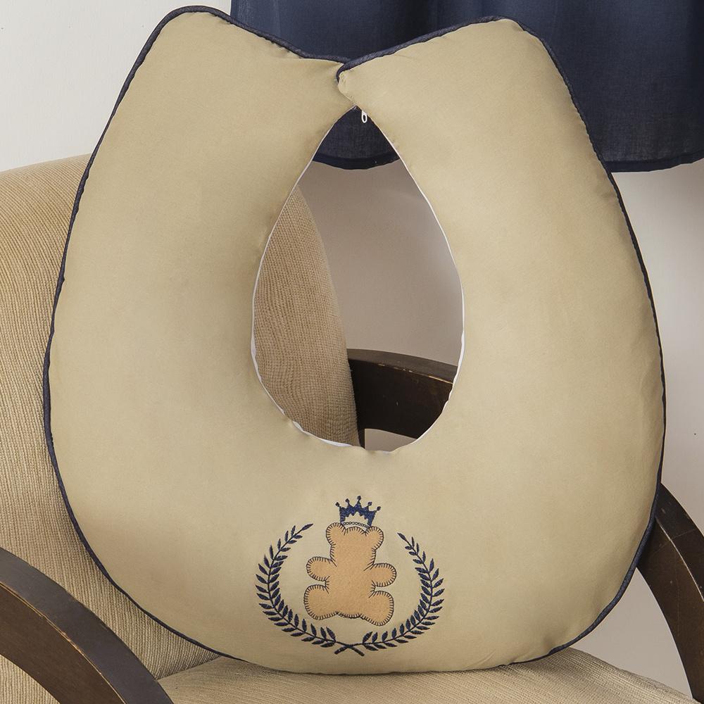 Almofada De Amamentação De Bebe 60cm x 60cm 100% Algodão Menino Ursinho Ted- Azul Marinho