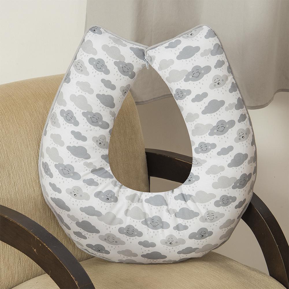 Almofada De Amamentação De Bebe 60cm x 60cm 100% Algodão Nuvem - Cinza