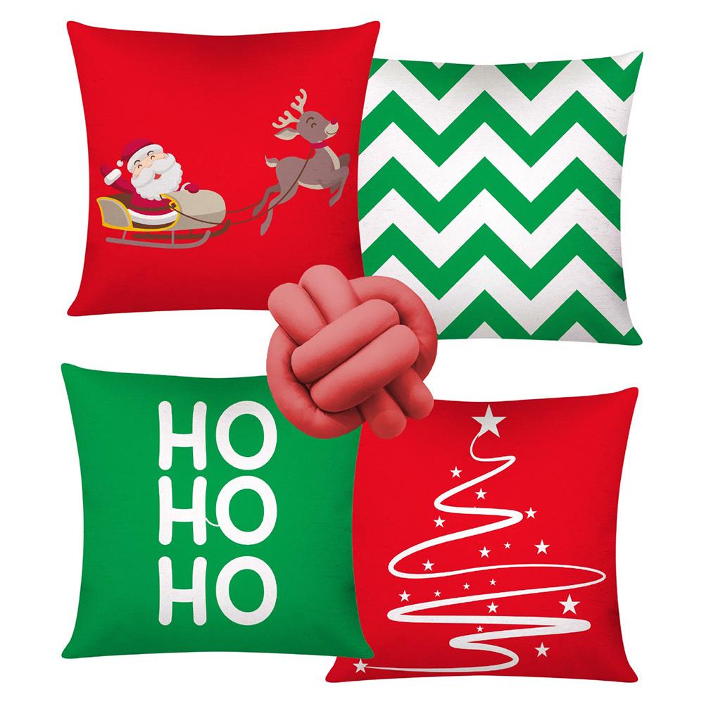 Almofada De Natal Com Zíper 42cm x 42cm 04 Peças + Almofada De Nó Escandinavo - Estampa 01