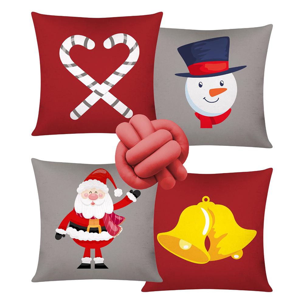 Almofada De Natal Com Zíper 42cm x 42cm 04 Peças + Almofada De Nó Escandinavo - Estampa 02