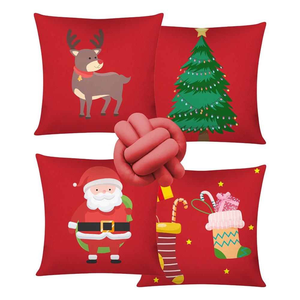 Almofada De Natal Com Zíper 42cm x 42cm 04 Peças + Almofada De Nó Escandinavo - Estampa 03