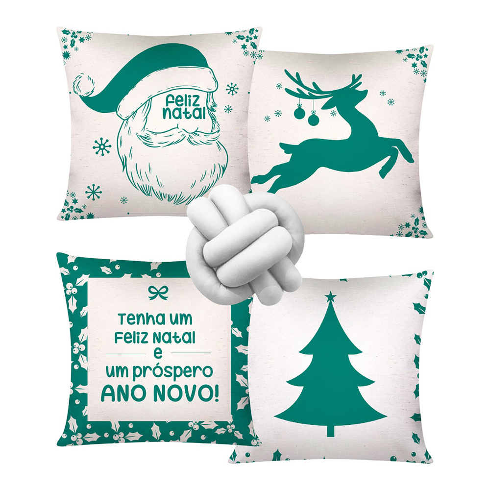 Almofada De Natal Com Zíper 42cm x 42cm 04 Peças + Almofada De Nó Escandinavo - Estampa 07