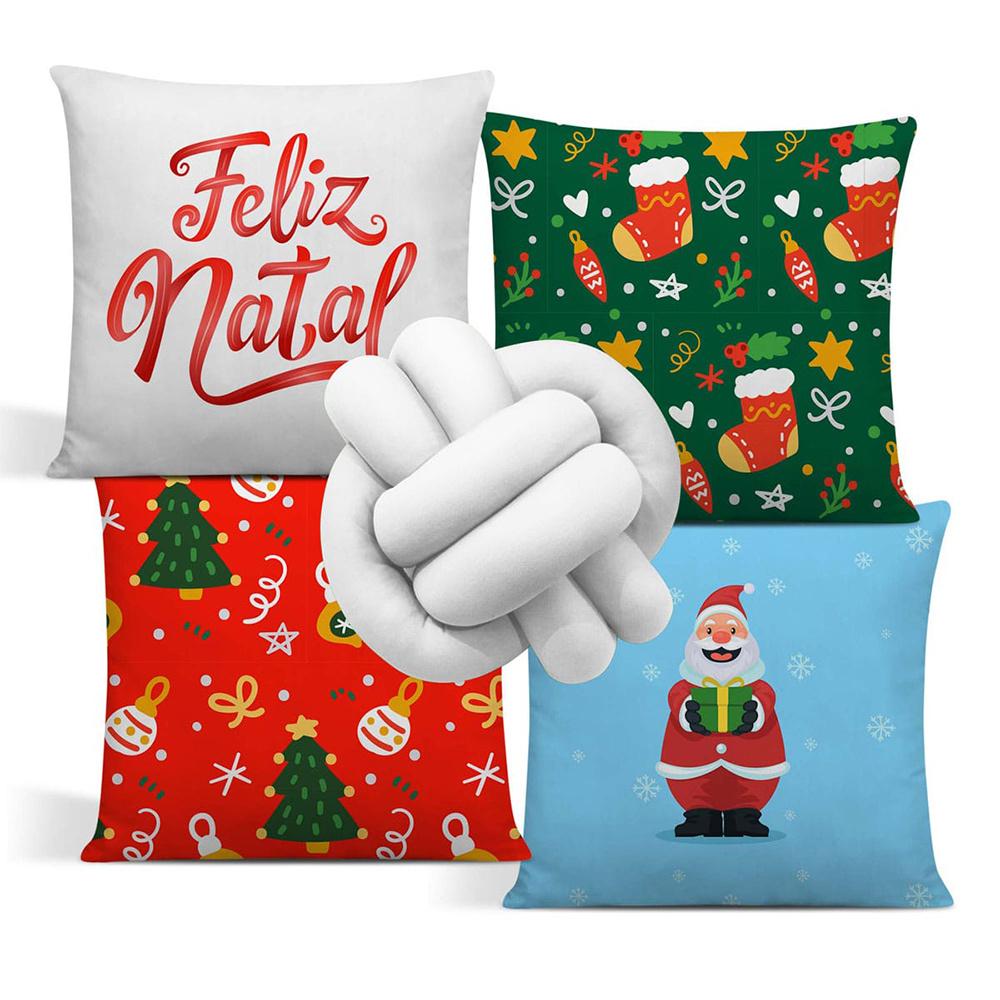 Almofada De Natal Com Zíper 42cm x 42cm 04 Peças + Almofada De Nó Escandinavo - Estampa 08