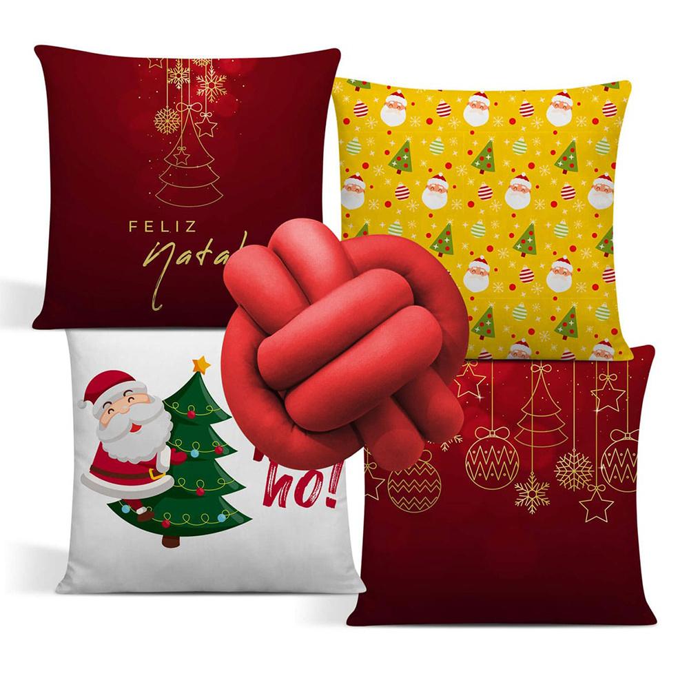 Almofada De Natal Com Zíper 42cm x 42cm 04 Peças + Almofada De Nó Escandinavo - Estampa 09