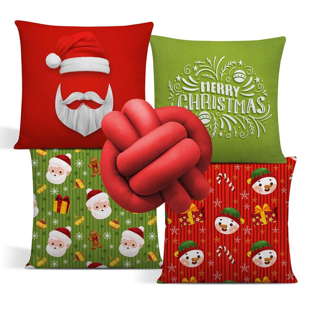 Almofada De Natal Com Zíper 42cm x 42cm 04 Peças + Almofada De Nó Escandinavo - Estampa 10