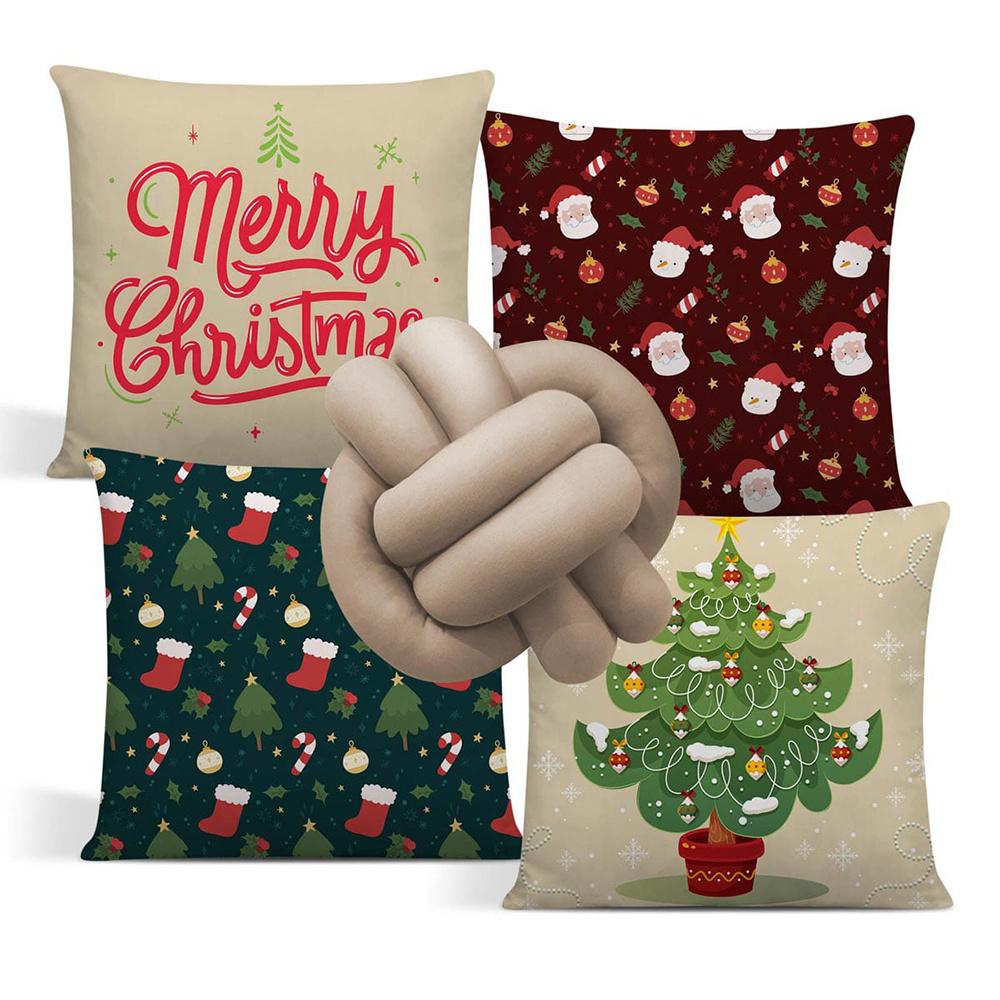 Almofada De Natal Com Zíper 42cm x 42cm 04 Peças + Almofada De Nó Escandinavo - Estampa 11
