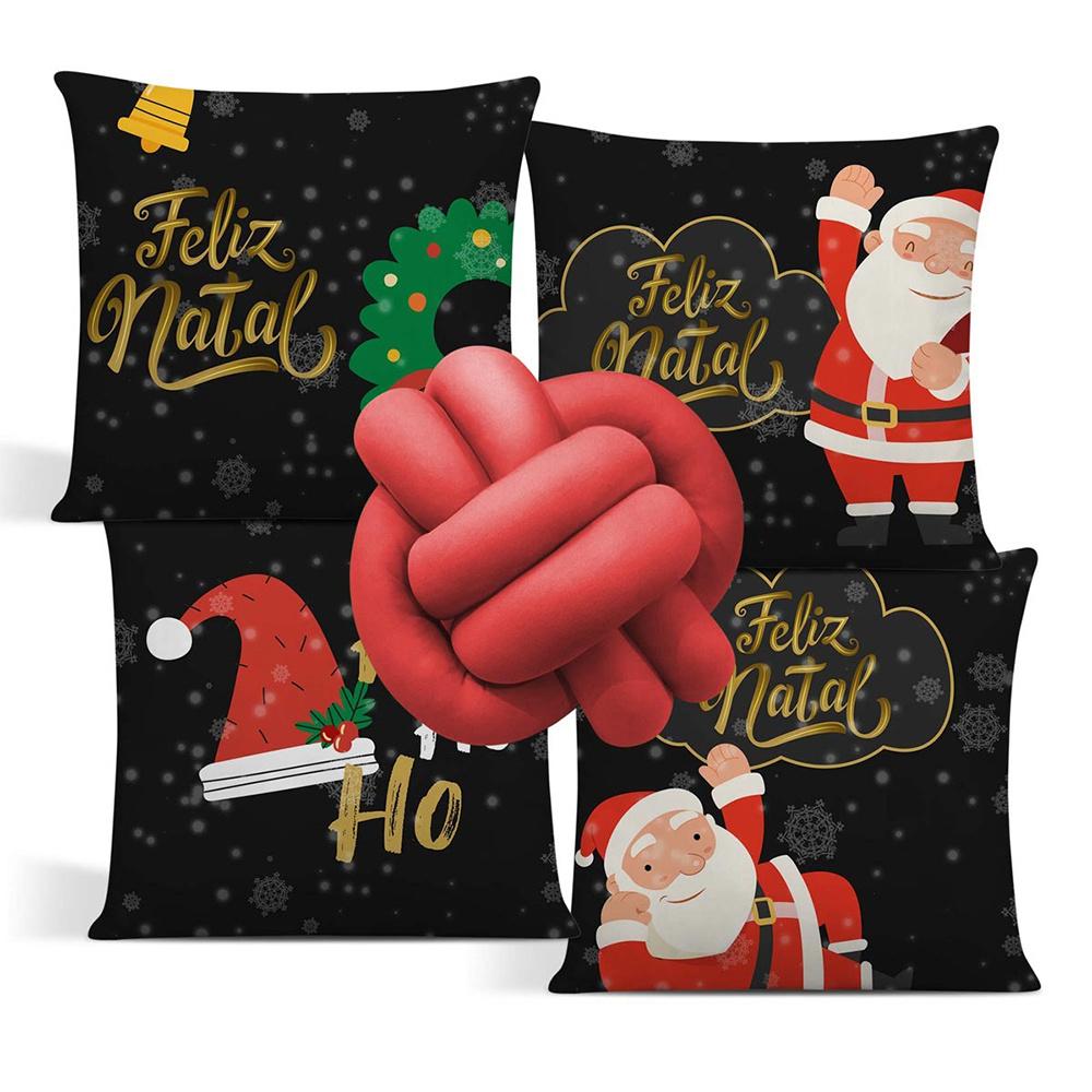 Almofada De Natal Com Zíper 42cm x 42cm 04 Peças + Almofada De Nó Escandinavo - Estampa 12
