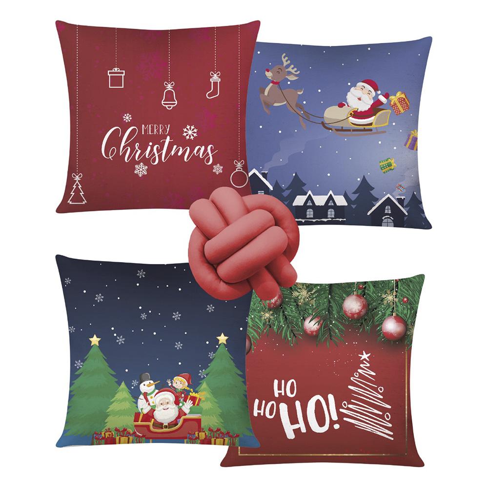 Almofada De Natal Com Zíper 42cm x 42cm 04 Peças + Almofada De Nó Escandinavo - Estampa 15