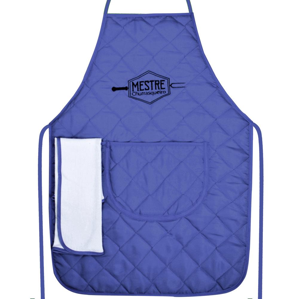 Avental De Tecido Misto 68cm X 48cm Mestre Churrasqueiro Bordado Com Bate Mão - Azul