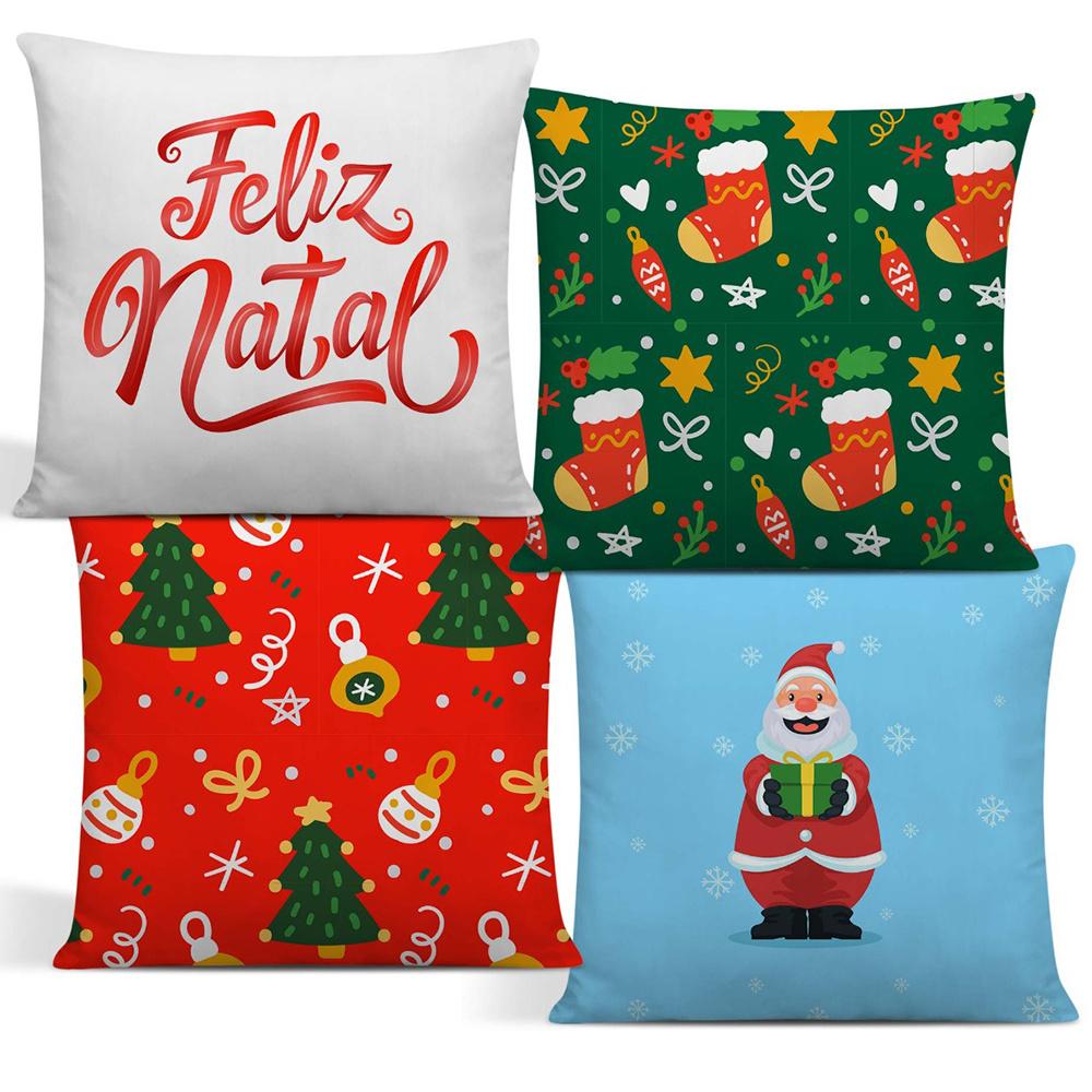 Capa De Almofada De Natal Com Zíper 42cm x 42cm Kit Com 04 Peças - Estampa 08