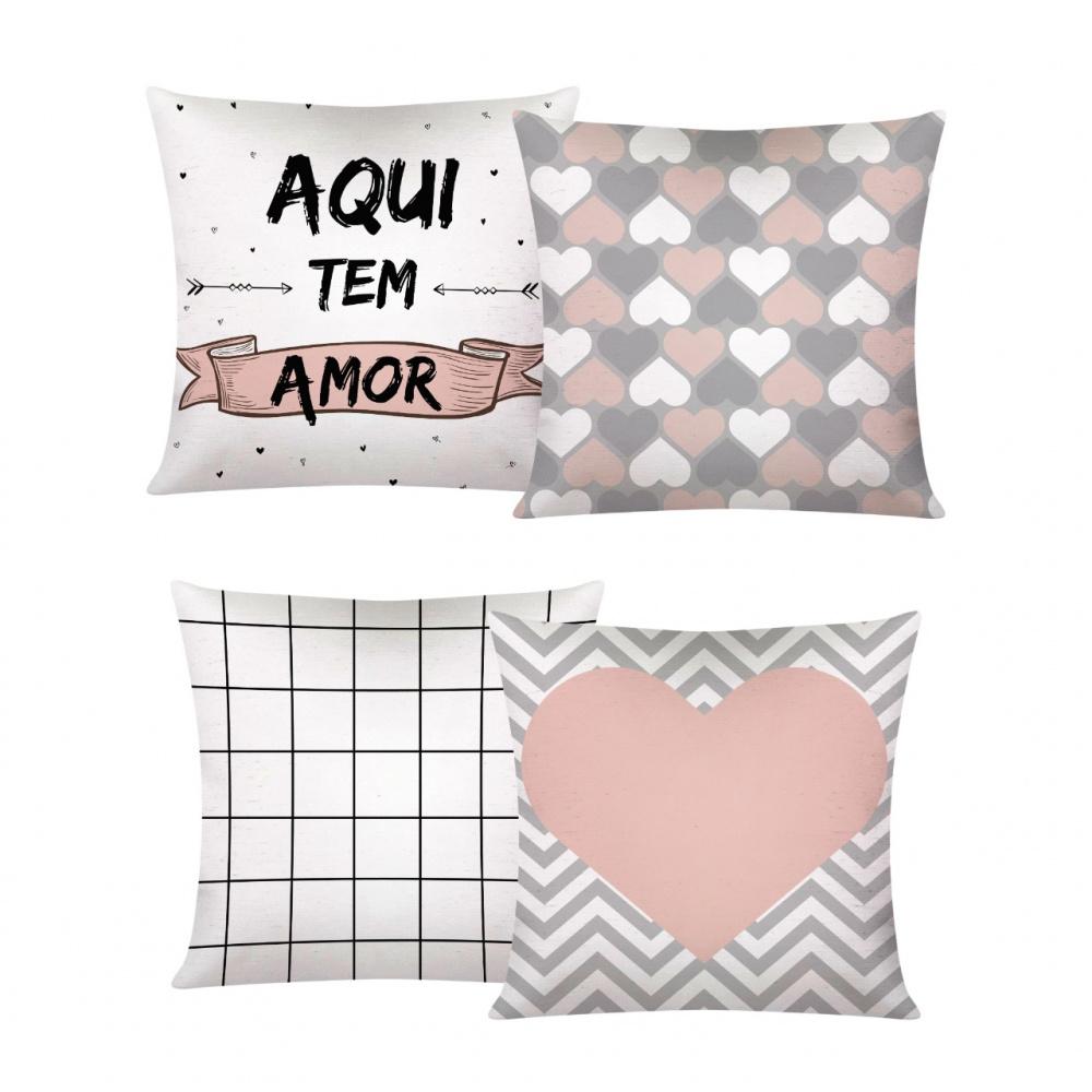 Capa De Almofada Decorativa Para Sofá Com Zíper 43cm x 43cm Kit Com 04 Peças 14 - Aqui Tem Amor