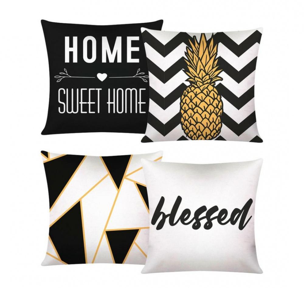 Capa De Almofada Decorativa Para Sofá Com Zíper 43cm x 43cm Kit Com 04 Peças 3 - Home Sweet Home