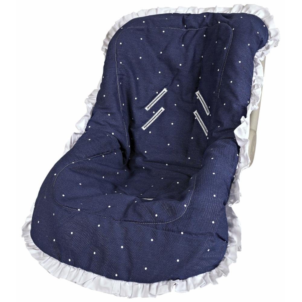 Capa Para Bebê Conforto Modelo De Até 13 kg 100% Algodão Cherie Premium - Azul Marinho