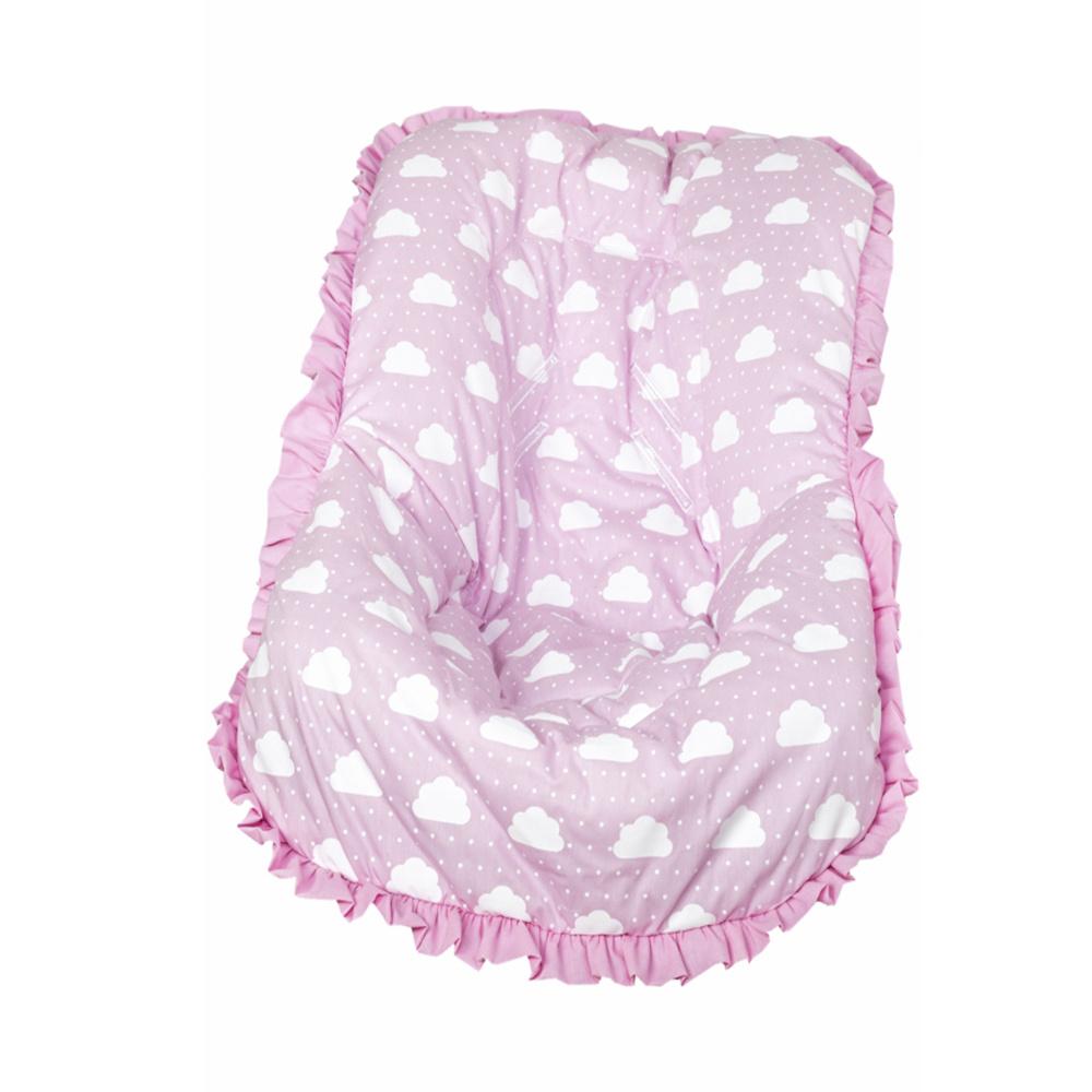 Capa Para Bebê Conforto Modelo De Até 13 kg 100% Algodão Nuvenzinha Premium - Rosa