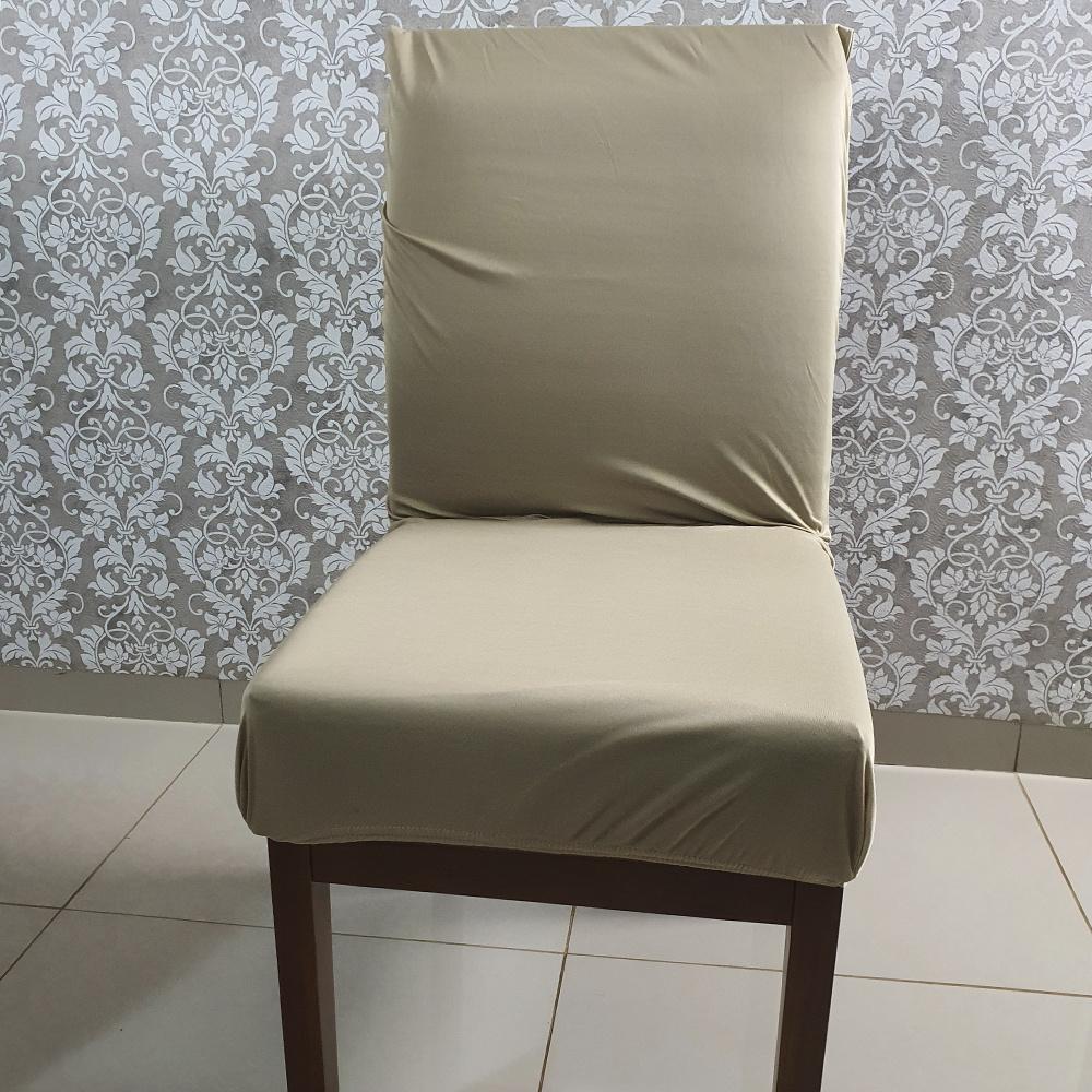 Capa Para Cadeira De Jantar Em Malha Gel Lisa - Avelã