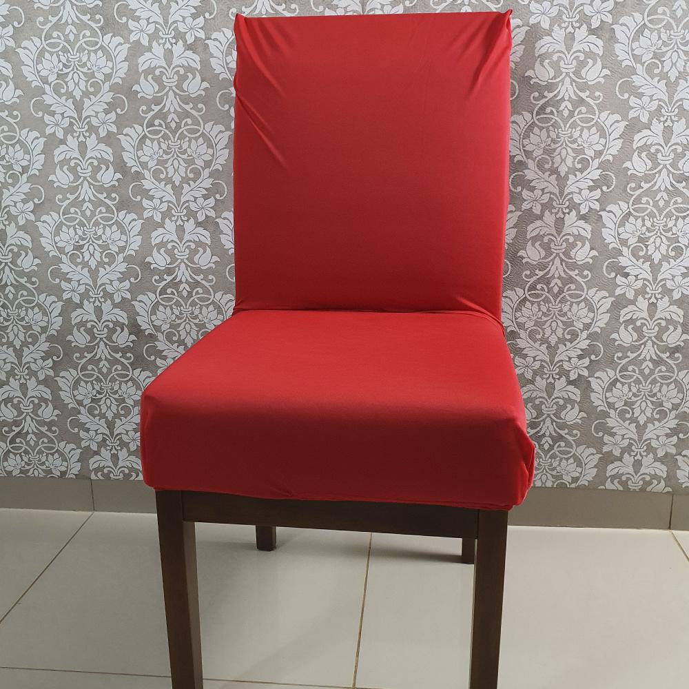 Capa Para Cadeira De Jantar Em Malha Gel Lisa - Vermelho