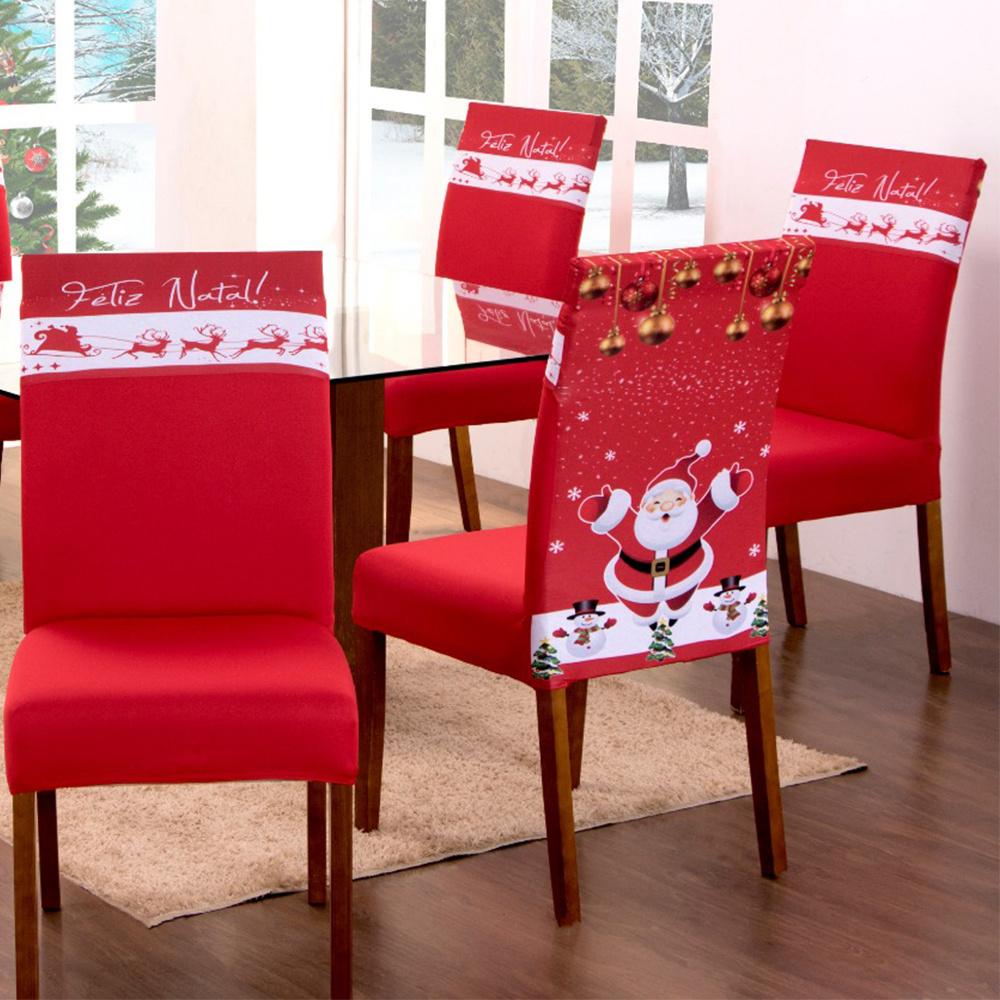 Capa Para Cadeira De Jantar Estampada 04 Peças Em Malha Gel  - Natal