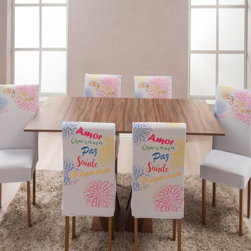 Capa Para Cadeira De Jantar Estampada 06 Peças Em Malha Gel - Ano Novo