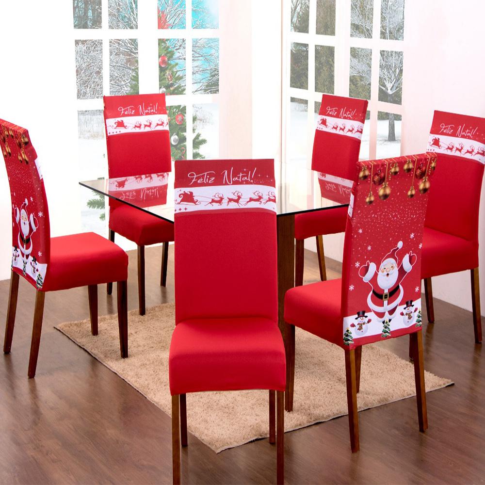 Capa Para Cadeira De Jantar Estampada 06 Peças Em Malha Gel  - Natal