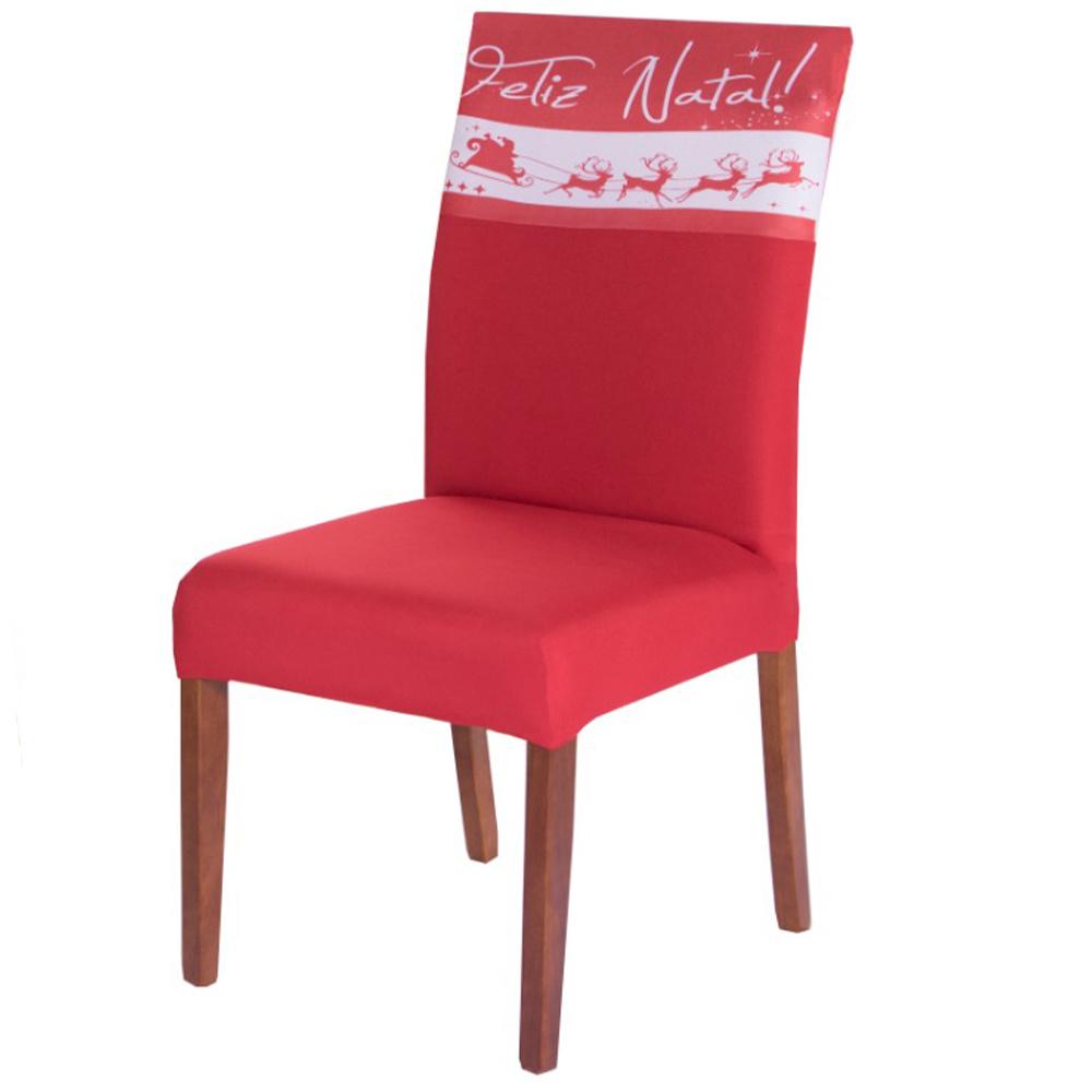 Capa Para Cadeira De Jantar Estampada Em Malha Gel  - Natal