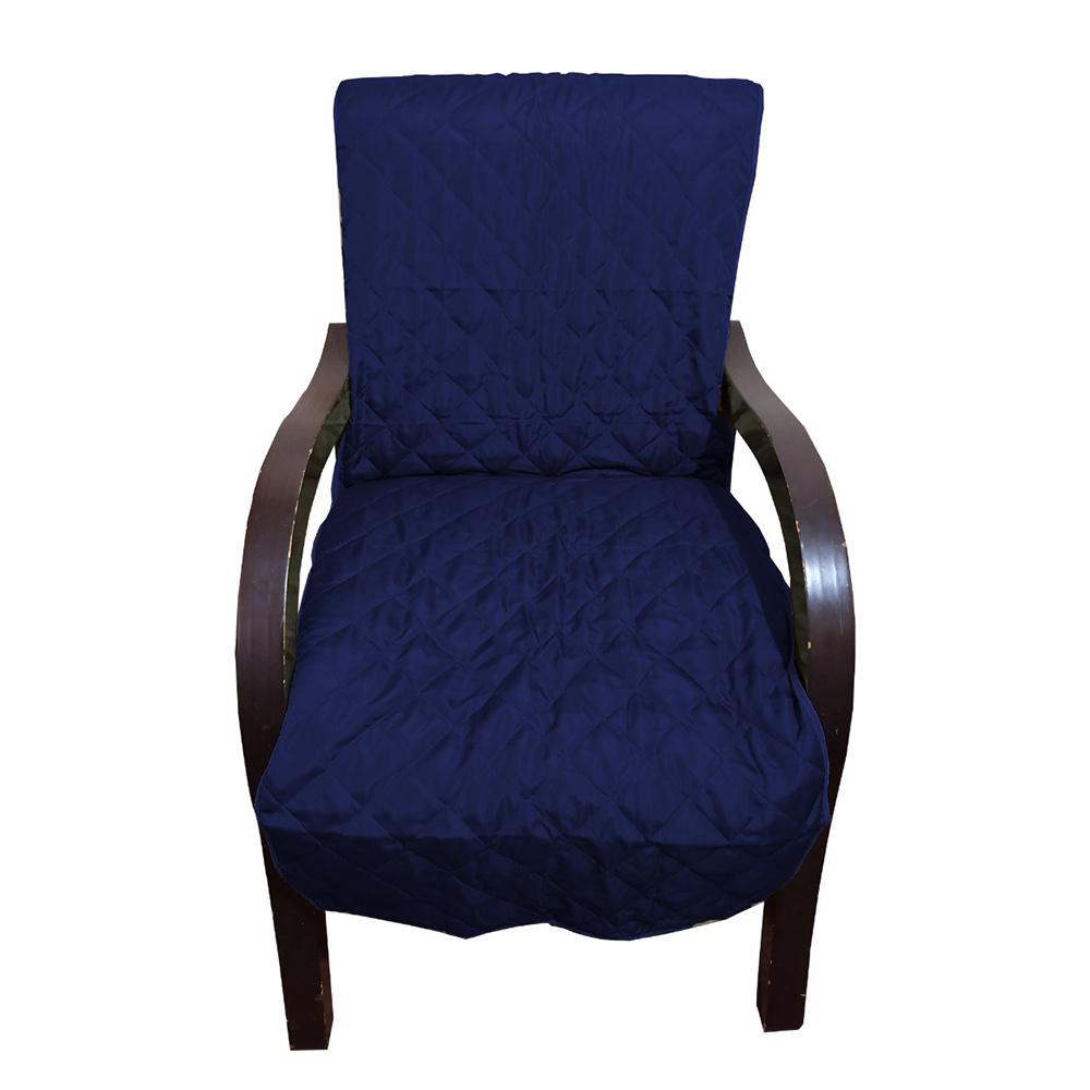 Capa Para Cadeira Poltrona Matelada Sem Braços Com Fita De Fixação E Assento De 55Cm - Azul Marinho