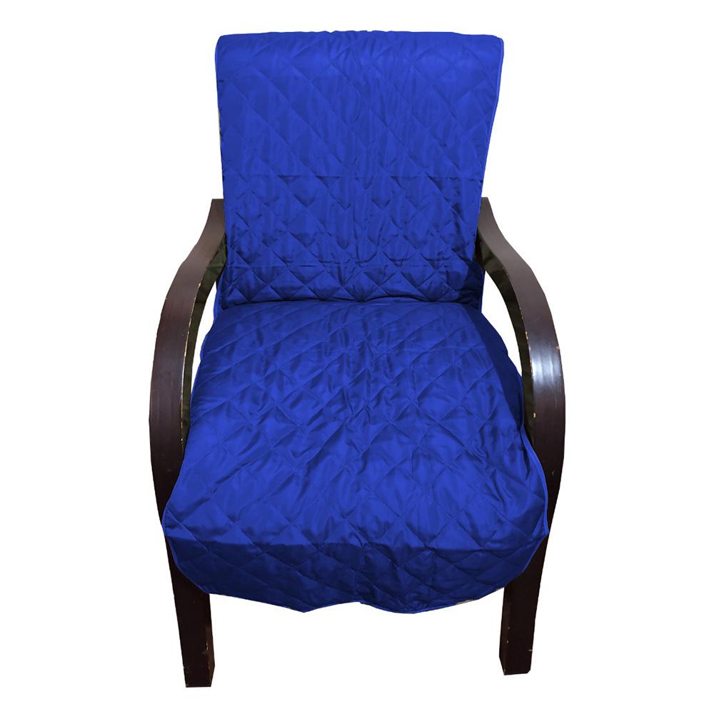 Capa Para Cadeira Poltrona Matelada Sem Braços Com Fita De Fixação E Assento De 55Cm - Azul Royal